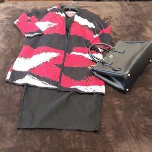Jackets & Blazers - Kasper Topper/Blazer Red/Black/White Size Large